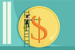 Geschäftsmann-malender Dollar Stockfotos