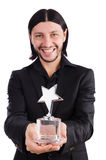 Geschäftsmann mit dem Sternpreis lokalisiert Lizenzfreies Stockfoto