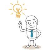 Geschäftsmann mit der Glühlampe, die Idee hat Stockfotos