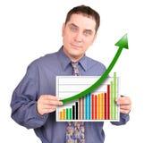 Geschäftsmann mit Finanzgeschäfts-Diagramm Stockfoto