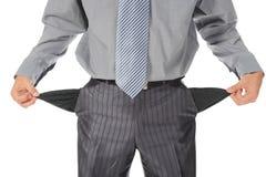 Geschäftsmann mit leeren Taschen Stockbild