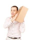 Geschäftsmann mit Paket Lizenzfreie Stockbilder