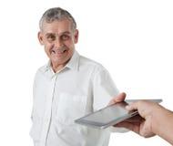 Geschäftsmann mit Tablette-PC Stockfoto