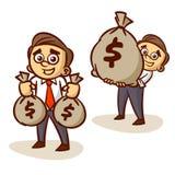 Geschäftsmann-With Money Bag-Satz Lizenzfreie Stockfotografie