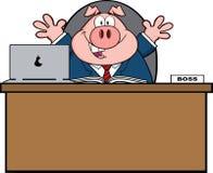 Geschäftsmann-Pig Cartoon Mascot-Charakter hinter Schreibtisch Stockfotografie
