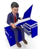 Geschäftsmann-Reading Books Means-Schulstudie und -wissen Lizenzfreie Stockfotografie