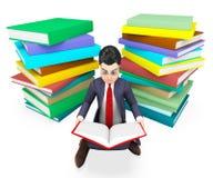 Geschäftsmann-Reading Books Shows-Unternehmensuniversität und -unterstützung Lizenzfreie Stockfotografie