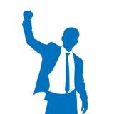 Geschäftsmann-Schattenbild aufgeregte Griff-Hände oben Lizenzfreies Stockfoto