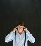 Mann denken oder stark denkend Stockfotos