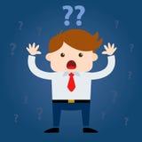 Geschäftsmann-Surrounded By Questions-Kennzeichen Lizenzfreies Stockfoto