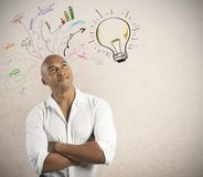 Geschäftsmann und kreatives Geschäft Stockbild