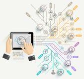 Geschäftsmann unter Verwendung der infographic Schablone der Tablettenzeitachse Stockfoto
