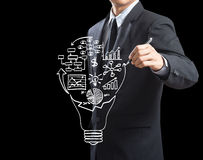 Geschäftsmann-Zeichnungs-Geschäftsstrategieplan Stockbild