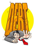 Geschäftsmann zerquetscht durch schwere Schuld Stockfoto