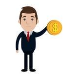 Geschäftsmanncharakter mit Geldmünzenikone Stockfoto
