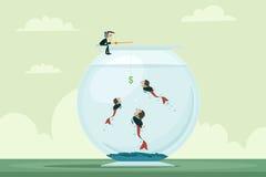 Geschäftsmannfischen Arbeitskräfte Stockfotos