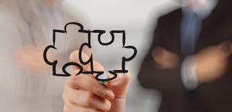 Geschäftsmannhandzeichnung Partnerschafts-Puzzlespiel Stockfotos