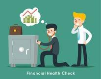 Geschäftsmannkontrolle finanziell oder Geldgesundheit mit Stethoskop 8 ENV Stockfotografie