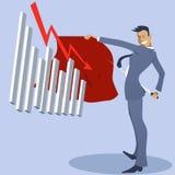 Geschäftsmannstierkämpfer mit einem angreifenden Diagramm Stockfoto