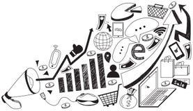 Geschäftsmedienwerbung oder digitales Internet-Marketing Lizenzfreie Stockfotos