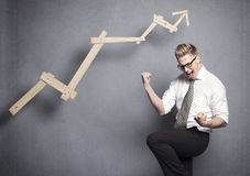 Geschäftssiegerzujubeln. Stockbilder