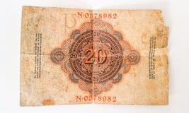 Geschichte deutschen Banknote Zwanzig-Kennzeichens 1914 - WW1 Lizenzfreies Stockfoto