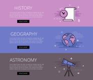 geschichte geographie astronomie Vektorfahnen-Schablonensatz lizenzfreie abbildung