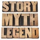 Geschichte, Mythus, Anzeige stockfotografie