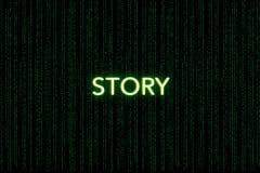 Geschichte, Schlüsselwort des Gedränges, auf einem grünen Matrixhintergrund stockfotografie