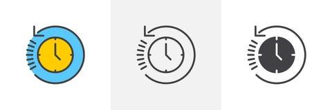 Geschichte, Uhr mit Pfeil um Ikone lizenzfreie abbildung
