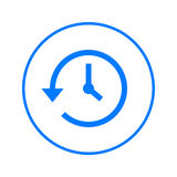 Geschichte, Uhr mit Pfeil um Kreislinie Ikone Rundes buntes Zeichen Flaches Artvektorsymbol vektor abbildung