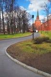 Geschichtemuseums- und Kremlinskontrollturm bei rotem Suare in Moskau. Lizenzfreies Stockfoto