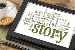 Geschichten- und Geschichtenerzählenwortwolken Stockfoto