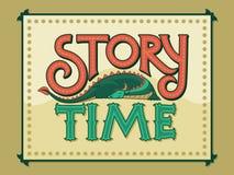 Geschichten-Zeit-Weinlese-Handbeschriftungs-Logo Stockfotografie