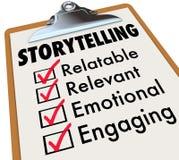 Geschichtenerzählen-Checklisten-Klemmbrett, wie man Geschichten 3d Illustra erzählt Stockfotos