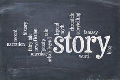 Geschichtenwortwolke auf Tafel Stockbild