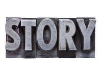 Geschichtewort im Metalltypen Stockfotos