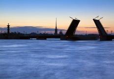 Geschiedene Brücke im St. Petersburg Stockfoto