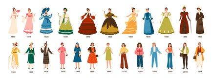 Geschiedenis van manier Inzameling van vrouwelijke kleding door decennia Bundel van mooie vrouwen gekleed in modieuze geïsoleerde royalty-vrije illustratie