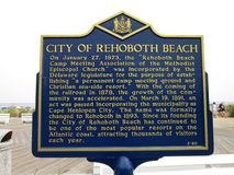Geschiedenis van Strand Rehoboth Royalty-vrije Stock Foto