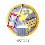 Geschiedenisstudie, school en universitaire discipline van oudheid stock illustratie
