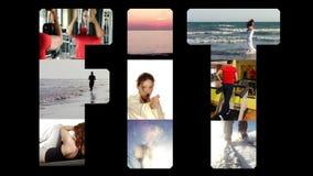 Geschikte collage op zwarte stock video