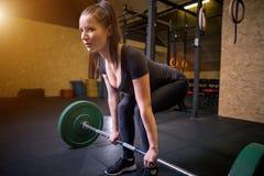 Geschikte jonge vrouw die met een barbell bij de gymnastiek uitwerken Bodybuilderwijfje die bij de gymnastiek uitoefenen Royalty-vrije Stock Foto's