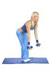 Geschikte jonge vrouwelijke pilatesinstructeur Stock Afbeeldingen