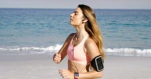 Geschikte vrouw die oortelefoons in haar oor zetten vóór jogging stock video