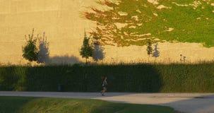 Geschikte vrouw die in park lopen stock video