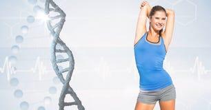 Geschikte vrouw in sportkleding door DNA-structuur vector illustratie