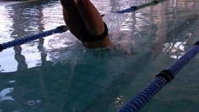 Geschikte zwemmer die in het zwembad duiken stock videobeelden