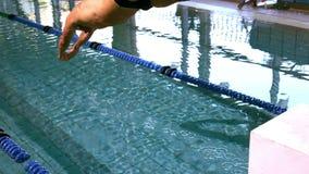 Geschikte zwemmer die in het zwembad duiken stock video