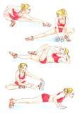 Geschiktheid: de blondevrouw in rode sportkleding maakt oefeningen, hand geschilderde waterverfillustratie Royalty-vrije Stock Afbeeldingen